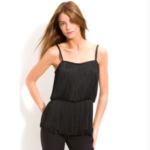 Theory pardia black fringe tassel top